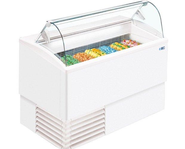 Vitrina heladera. Vitrina heladería industrial cristal curvo, 4+4.