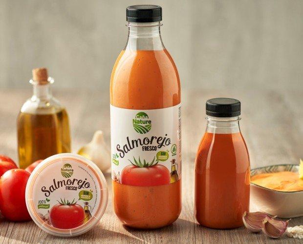 Purés de Frutas.Salmorejo 100% natural y sabroso. Ingredientes frescos naturales para un sabor casero