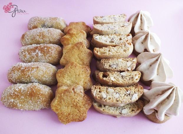 Pasteles.Bandeja degustación de pastas secas