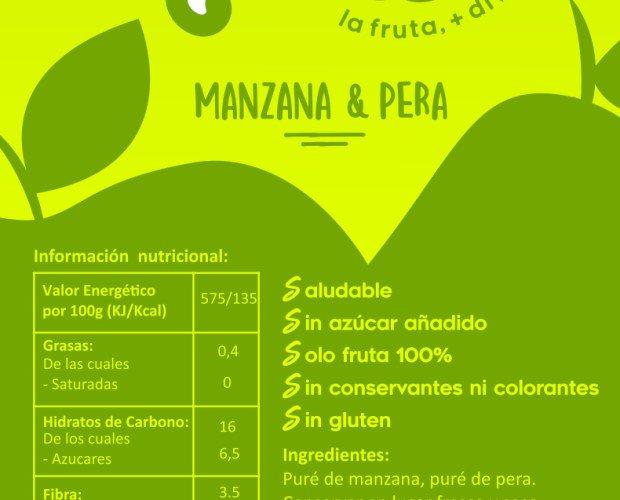 Fruta Deshidratada.Fruta mas divertida 100% natural Manzana sola manzana y pera