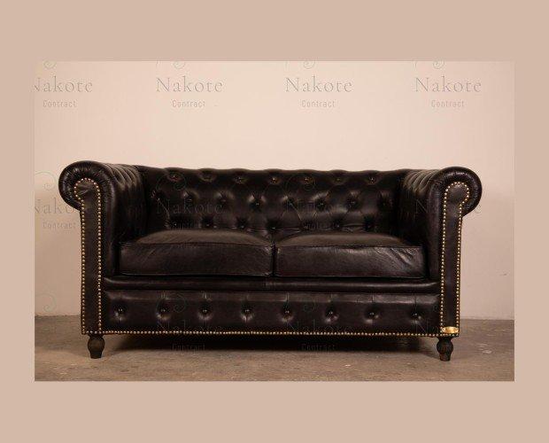 Sofa y Sillón Chester. Estilo vintage, tapizado en piel color marrón