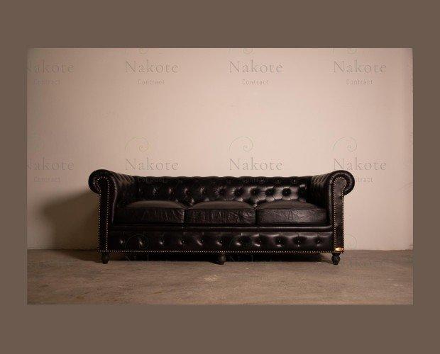 Sofá Chester 3 Plazas. Tapizados con auténtica piel estilo vintage, con tachuelas