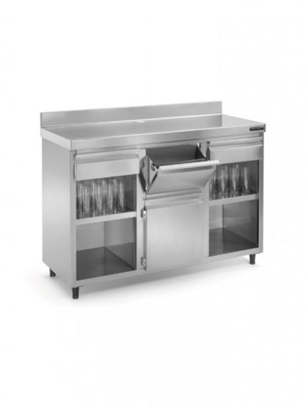 Mueble cafetero. Fabricado en acero inoxidable