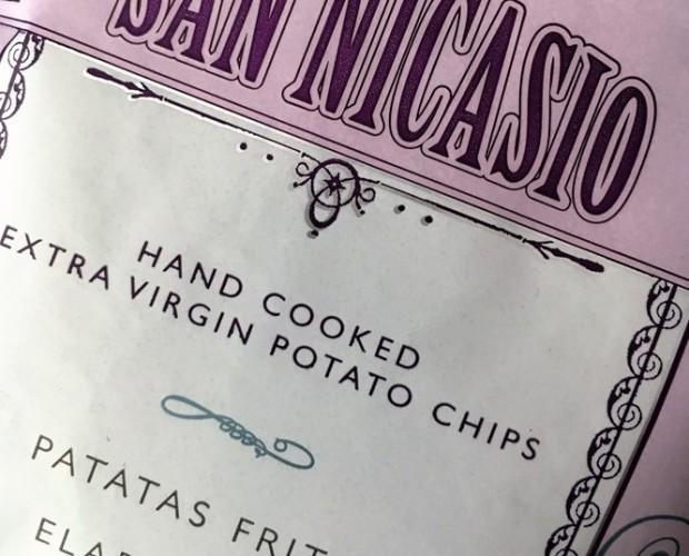 San Nicasio Logo. San Nicasio Patatas Fritas Aceite Oliva Virgen Ext