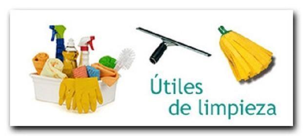 Útiles de limpieza. Fregonas, bayetas, cepillos de barrer, recogedores,