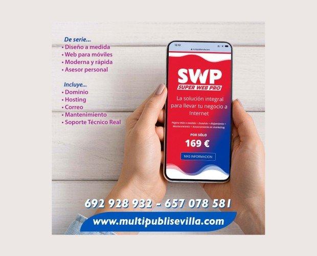 Super Web Pro. Diseño web para su empresa. Diseño personalizado +Dominio+hosting+ mantenimiento+ soporte técnico. Todo por solo 169€
