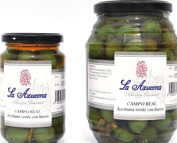 Aceitunas.Aceitunas de Camporreal Barril 550g Tarro 200g
