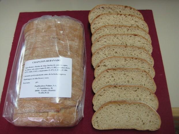 Proveedores de pan. Chapata rebanada