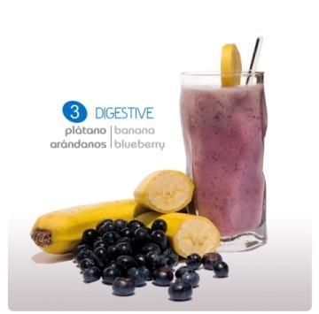 Smoothie yogur Digestive. De plátanos y arándanos