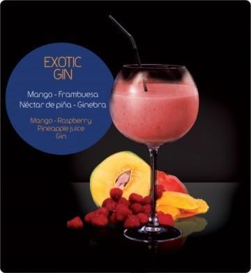 Smoothies con alcohol Exotic. Mango, frambuesa, ginebra