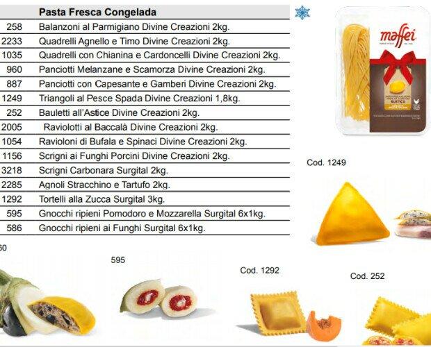 Pasta fresca congelada. Disponibilidad de varios tipos de pasta fresca congelada de alta calidad