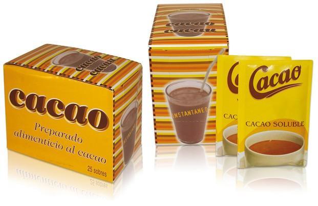 Cacao en Polvo.Sobres de preparado alimentario al cacao