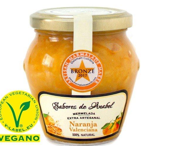 NARANJA premio. Mermelada de Naranja Valenciana formato 250 gr. 75% fruta naranja sin conservantes, sin gluten
