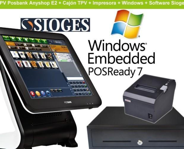 Pack TPV Anyshop. TPV Anyshop con impresora + cajon + S.O y Sioges