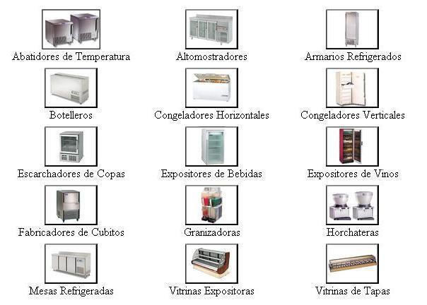 Equipos de frío industrial. Vitrinas, botelleros, arcones, etc