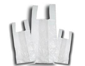 Bolsas de camiseta. Distintos tamaños y galgas de bolsas de camiseta.