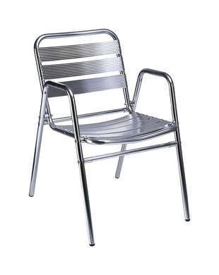 Mobiliario de Exterior.Sillón aluminio con doble pata