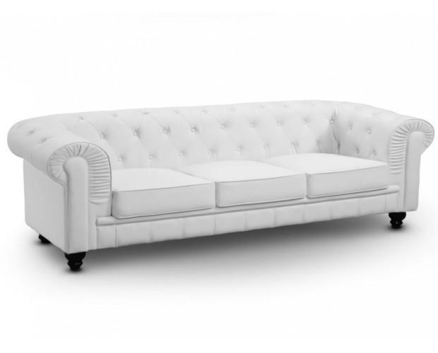 Brooklym Blanco 3 plazas. Clásico sofá tipo chesterfield