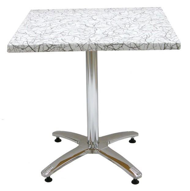 Mesas.Base de acero inox. y columna en aluminio / Traviata.