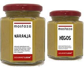 Mostaza con naranja con higo. La mostaza de GOURMET LEON, acompaña muy bien a carnes frías y calientes, salchichas, embutidos y asados.