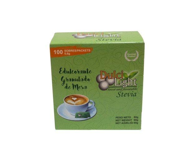 Dulcilight Stevia 100 Sobres. Utilizado como sustituto de azúcar en repostería, coctelería y cocina gourmet