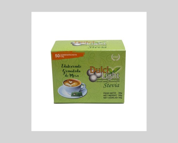 Dulcilight Stevia 50 Sobres. Es un edulcorante granulado en sobres de origen natural