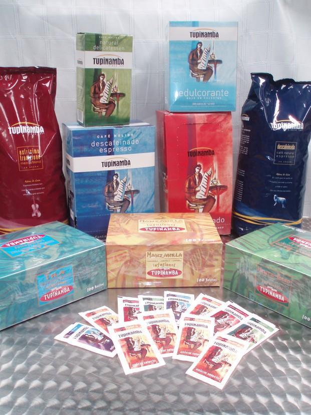 Café. Café en grano, descafeinado, azúcar, edulcorantes