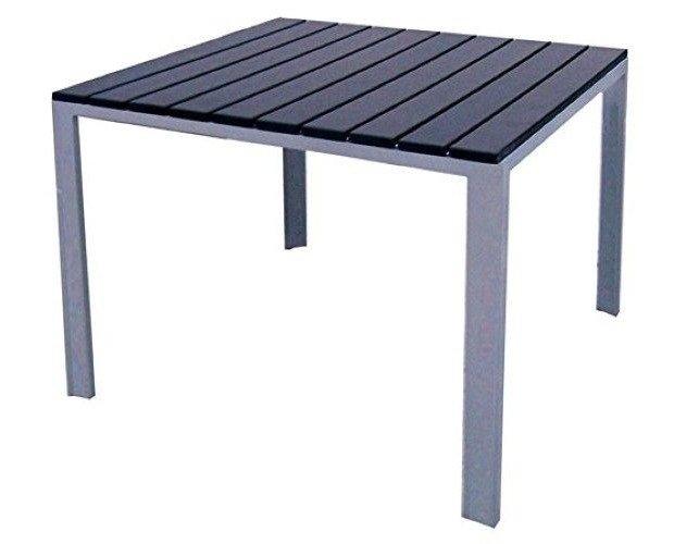 Mesa Kind. Exterior en aluminio lacado y tablero de resina en imitación en madera
