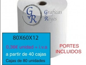 Rollos térmicos 80X60 a partir de 40 cajas envío gratis