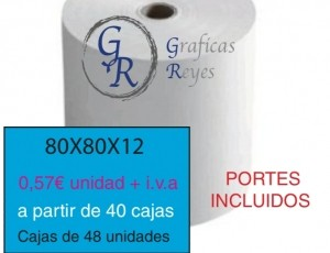 Rollos térmicos 80X80 a partir de 40 cajas envío gratis