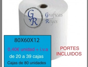 Rollo térmicos 80X60 de 20 a 39 cajas envío gratis