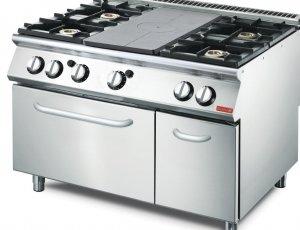 Cocina gas Gastro M placa 4 quemadores y horno GN2/1 70/120